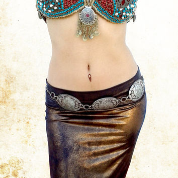 Tribal Kuchi Belt, Belly Dance Piece, Boho Belt, Festival Costume, Gypsy Belt, Tribal Fusion Bellydance Belt