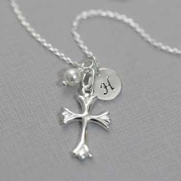 Baptism Necklace, Sterling Silver Cross Necklace, Sterling Silver Cross Pendant on Sterling Silver Necklace Chain, Baptism Gift
