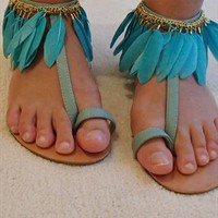Office Souffle feather sandal turquoise UK 5 from girlsnightout