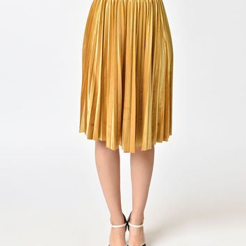 Retro Style Mustard Yellow Velvet Pleated Midi Skirt