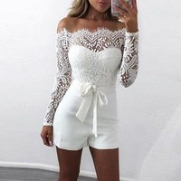 LASPERAL 2018 Off Shoulder Lace Rompers Women New Summer Patchwork Female White Sexy Jumpsuits Women Overalls Bodysuit Playsuit