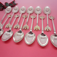 Teaspoons Sterling Silver Scottish Thistle, English, Scotland, Quality, Cutlery, Hallmarked 1929 Charles James Allen REF:212T