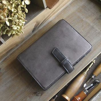 leather binder - waxed, lavender gray, day planner, refillable journal, for filofax pocket size inserts, agenda - handstitched