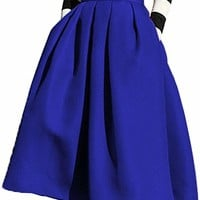 Women's High Waisted A Line Street Skirt Skater Pleated Full Midi Skirt