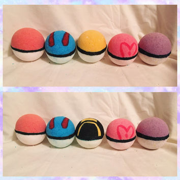 6 pack Pokeball Bath Bombs (with a mystery Pokemon toy inside!)