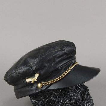 27271b696b30eb Berman's Leather Eagle Studded Chained Captains Hat