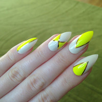 Neon Yellow False Nails, Summer Fake Nails, Summer Nails, Fake nails, Nail art, Nails, Acrylic nails, Nail designs
