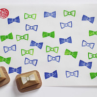 bow tie stamp. ribbon stamp. hand carved rubber stamp. hand carved stamp. wedding stamp. bridal stamp. silhouette/line. mounted. CHOOSE ONE