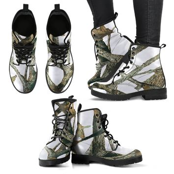 Ladies White Camo Leather Boots