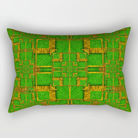golden green and  sunshine pop-art Rectangular Pillow by Pepita Selles