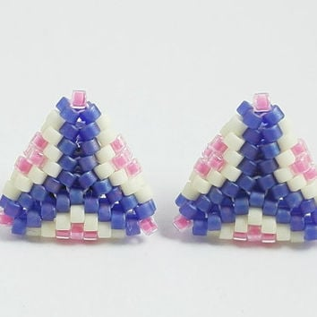 Blue Triangle Earrings, Pastel Colors, Blue Earrings, Hypoallergenic Post, Delica Beads, Geometric, Triangle Jewelry, Small Stud Earrings