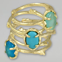 Set of 5 Stormy Stacking Rings, Blue