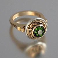 OLGA 14K gold ring with 1.4ct Green Tourmaline