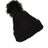 Faux Fur Pom Pom Beanie Hat | Black | Accessorize