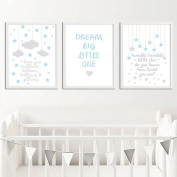 Nursery Quote Wall Art Canvas Painting Stars Cloud Cartoon Posters Prints Nordic Kids Decoration Picture Baby Boys Bedroom Decor