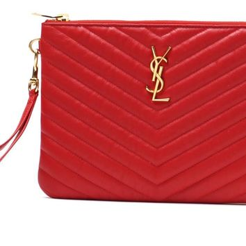 Saint Laurent YSL Logo Quilted Leather Wristlet Pouch Bag 379039