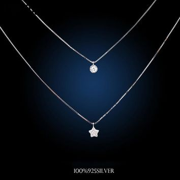 Korea Fashion Double Chain Necklaces 925 Sterling Silver Star Necklaces&Pendants Jewelry Collar Colar Free Shipping