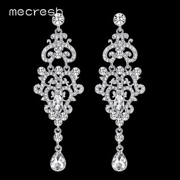Earrings Crystal Chandelier Long Silver or Gold and Rhinestone Dangle Stud Earrings for Wedding or Prom