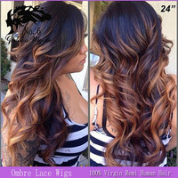 Full lace human wigs cosplay or party hair favor,Curly Human Hair Full Lace Ombre Wigs
