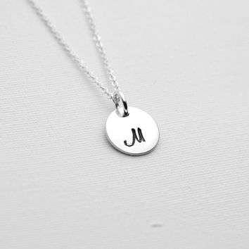 Hand Stamped Sterling Silver Personalized Monogram Necklace - Custom Initial Disc Necklace - Modern Jewellery - Silver Delicate Necklace