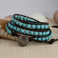 Beaded pale aquamarine triple wrap bracelet. Bohemian chic hippie style jewelry.