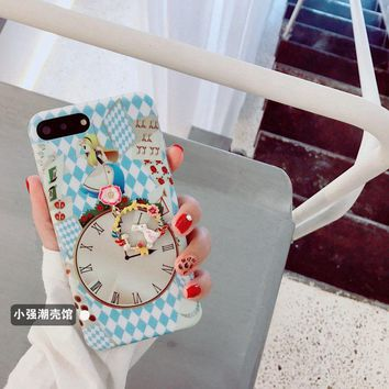 Funny Lovely Alice Clock Teapot Rabbit Pendant Soft Case For iPhoneX 8Plus 7Plus
