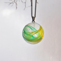Feather Necklace Globe Green Yellow Bird Nature Inspired Resin Ball Colourful