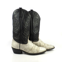 Cowboy Boots Vintage 1980s  Leather Two tone Black and White Men's size 9 D