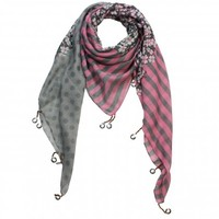Stripes Flower Polka Dots Sheer Square Scarf Shawl with Dangling Dove Coin Drops