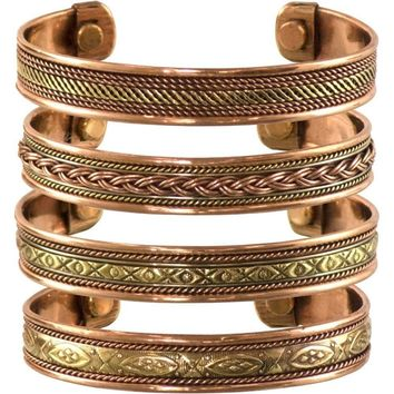 Set of 4 Tibetan Copper Bracelets Magnetic India Pattern Women's Men's