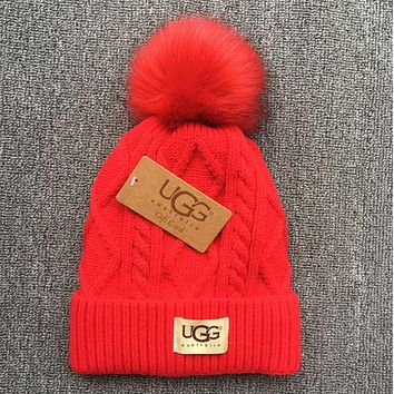 UGG Trending Women Men Casual Winter Warm Knit Hat Cap Red I