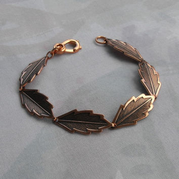 Genuine Copper Leaf Link Bracelet Leaves Floral Jewelry