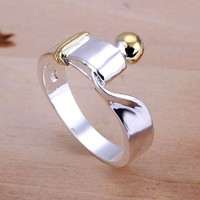 Pmany New Fashion 925 Sterling Silver Plated Refined Simple Ring Size 8