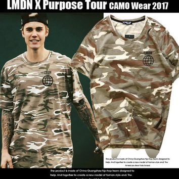 LMDNloose round neck men camouflage color short sleeve T-shirt