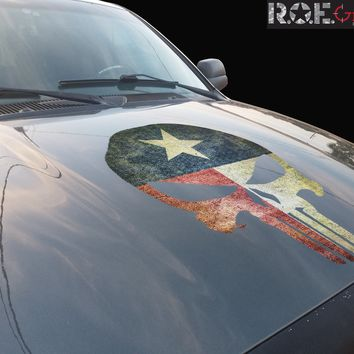 Punisher Skull Texas Flag Distressed Vinyl Hood Decal Fits all cars/trucks/jeeps