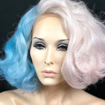 Cotton Candy Wig | Pastel Wig | Pink & Blue Wig | Light Grey Wig