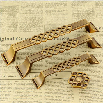 1Pcs Cpper/Bronze Antique Door Pulls Knobs Cabinet Kitchen Dresser Drawer Handles128Mm/96Mm Hole Spacing Zinc Alloy Bronze