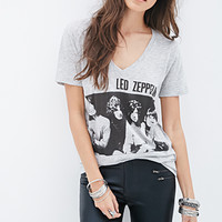 FOREVER 21 Led Zeppelin Graphic Tee Heather Grey/Black