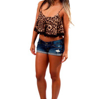 Pom Pom Crop Top - Cheetah