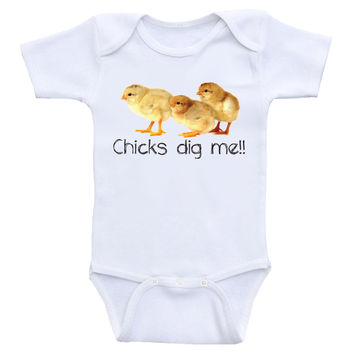 "Funny Baby Boy Clothes ""Chicks Dig Me"" Onesuits For Baby Boys"