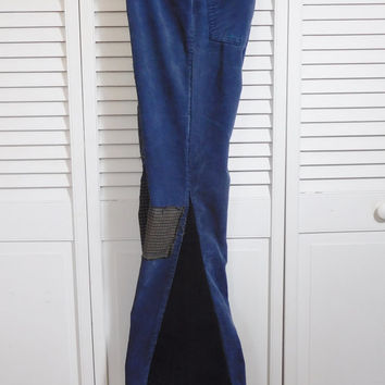 "Levi Corduroy Pants Womens Upycled Patched Bellbottoms 32"" Waist Navy Blue Vintage Cords Recycled Bell Bottoms Patchwork High Waisted Jeans"
