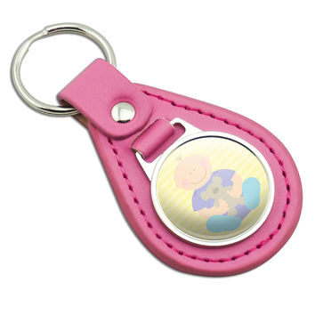 Baby With Teddy Bear Pink Leather Keychain