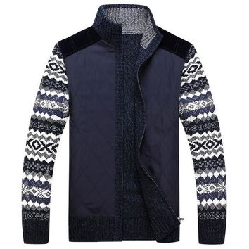 Men Sweater Autumn Winter Cardigan Jacket Men's Fashion Casual Jacquard Sweatercoat Male Knitting Sweter Hombre