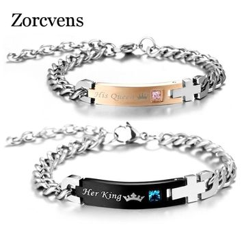 Cool ZORCVENS DIY Her King and His Queen Couple Bracelets with Crystal Stone Charm Lover Wedding Bracelet for Women MenAT_93_12