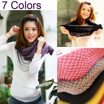 Corn Knited Hood Neck Circle Cowl Wool Girls Scarf Shawl Wrap Loop Warm Hot  7_S = 1917085380