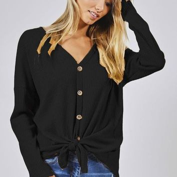 Thermal Knit Button Up Knit Top - Black