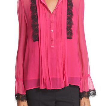 The Kooples Lace Trim Silk Blouse | Nordstrom