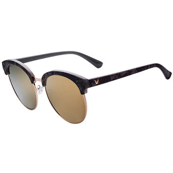 Black Cat Eye Mirror Lens Round Sunglasses