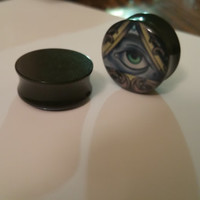 Custom All Seeing Eye - Black Acrylic Ear Plugs - Available in Seven Different Sized Gauges