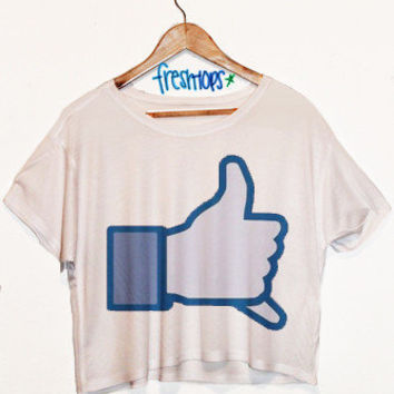 Hang Loose Facebook Short Sleeve Crop | fresh-tops.com